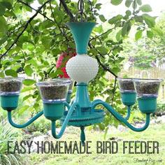 Easy Homemade Bird Feeder - made with an old light fixture and a few other inexpensive items.