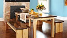 Wood table with matching benches