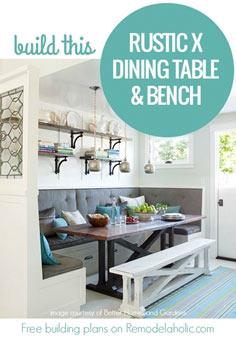 Free building plans! Build this rustic X dining table and farmhouse style bench this weekend. @Remodelaholic