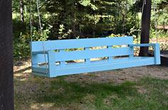 blue hanging porch swing