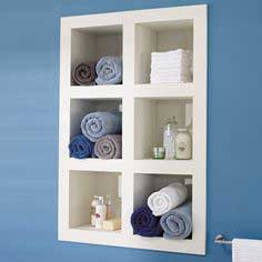 Recessed shelving  with compartments