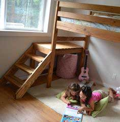 Build a Camp Loft Bed with Stair, Junior Height | Free and Easy DIY Project and Furniture Plans