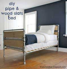 Build a Pipe and Wood Slat Bed | Free and Easy DIY Project and Furniture Plans
