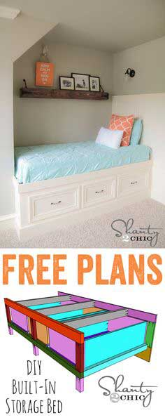 LOVE this built-in storage day bed!! Would also make a great corner bed! FREE plans too!