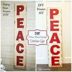 DIY Pottery Barn Knockoff Holiday peace Sign. Step by step tutorial