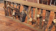 Upcycled tree branch coat rack