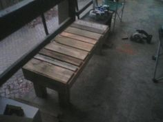 Beat up pallet turned rustic