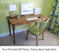 Free Printable DIY Plans Farmhouse Desk