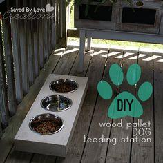 DIY Dog Feeding Station from#woodpallets #reclaimed#upcycle #chalkboardpaint