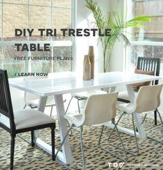 Free DIY Furniture Plans: How to Build a Tri Trestle Table