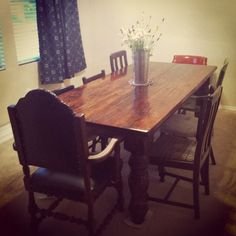 Reclaimed longleaf pine dining table