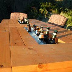 PATIO TABLE WITH BUILT-IN BEER/WINE COOLERS