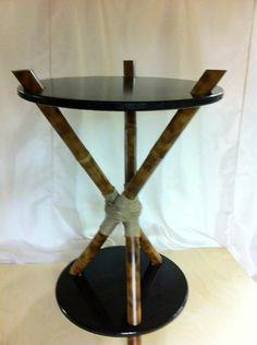 Make a 3-legged bamboo accent table