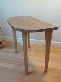 Burl veneer end table made with CNC router and vacuum bag system
