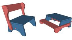 Child's Step Stool and Seat