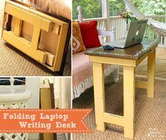 plans for this simple farmhouse style folding laptop writing table