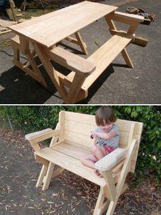 picnic table folded into a bench seat