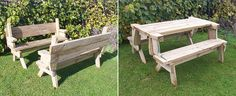 Two bench seats fold into a picnic table