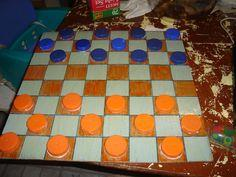 Homemade Checkers and Board