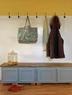 Mudroom Bench Using Old Cabinets