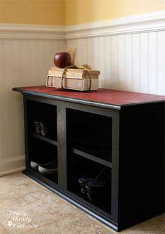 Shoe Storage Bench out of a Cabinet