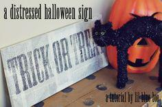 Distressed halloween sign diyplans
