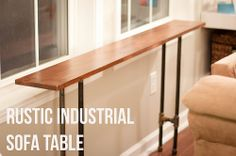 Rustic Industrial Sofa Table tutorial