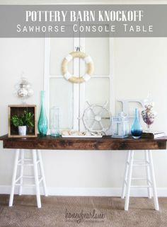 Pottery Barn Knockoff Sawhorse Console Table