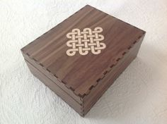 Laser cut box with endless knot inlay
