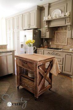 Rustic Rolling Kitchen Island Plans