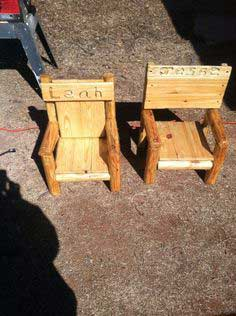 Rustic Log Children's Chair