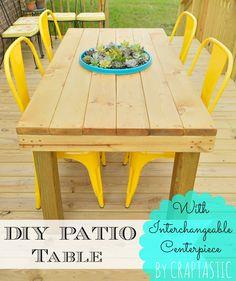 DIY Patio Table With Interchangeable Centerpiece!