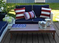 FLAG INSPIRED OUTDOOR WOOD COFFEE TABLE