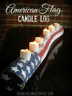 Almost Free American Flag Candle Log