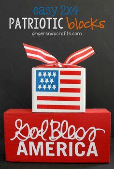 Easy Patriotic 2x4 Blocks