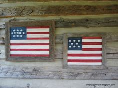 Barnwood and Bead board Patriotic Flags