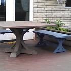 SQUARE FANCY X FARMHOUSE PICNIC TABLE AND BENCHES