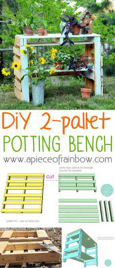 A TWO PALLET POTTING BENCH