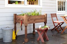 Raised herb-garden planter