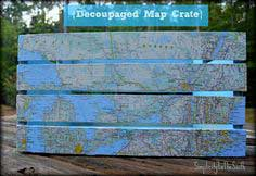decoupage a crate with a map