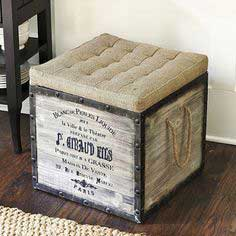 DIY French Burlap Storage Ottomans