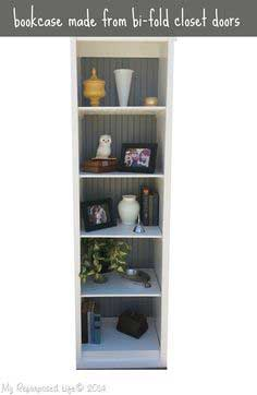 bi-fold door bookshelf, easy weekend project