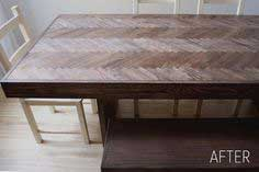 HERRINGBONE WOOD DINING TABLE