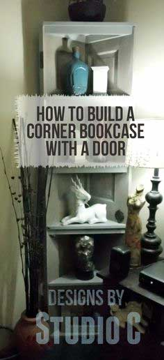 How to Build a Corner Bookcase Using an Old Door
