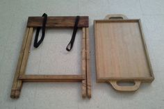 Wood serving tray with folding stand