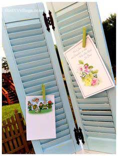 Repurposed Shutters - DIY greeting card display