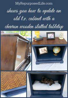 how to use shutter slats to make a chevron patterned table top on an old tv cabinet-makes a great pet bed