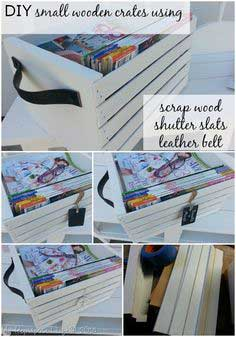 Easy DIY small wooden crates made with louvered door slats and scrap lumber