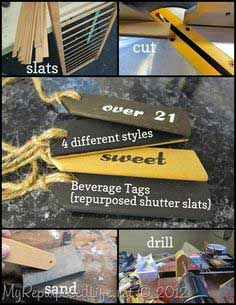 unwanted shutter slats repurposed into useful beverage tags