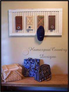 recycled shutter turned into a coat rack!